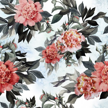 Photo for Seamless floral pattern with red and pink roses and peonies on watercolor background - Royalty Free Image