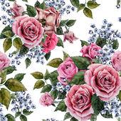 """Постер, картина, фотообои """"Акварель роз цветочный узор"""""""