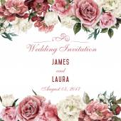 Watercolor Greeting card with roses