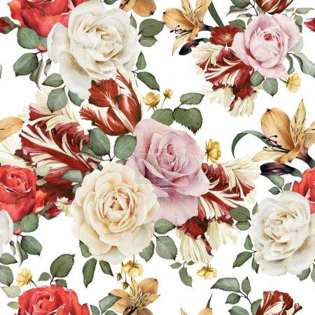 Photo pour Motif floral sans couture avec des roses, aquarelle - image libre de droit