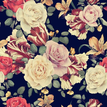 Photo for Seamless floral pattern with roses, watercolor - Royalty Free Image