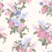 Seamless floral pattern with roses and lilac flowers on light background Vector illustration