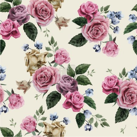 Illustration for Seamless floral pattern with pink roses on light background, watercolor illustration. - Royalty Free Image