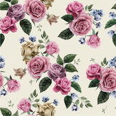 Seamless floral pattern with pink roses on light background watercolor illustration