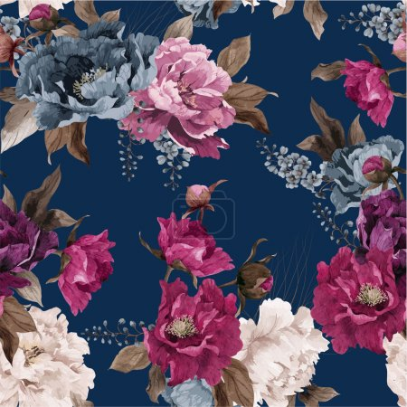 Illustration for Seamless floral pattern with peony, watercolor. - Royalty Free Image