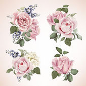 Set of bouquets of roses watercolor can be used as greeting card invitation card for wedding birthday and other holiday and  summer background Vector
