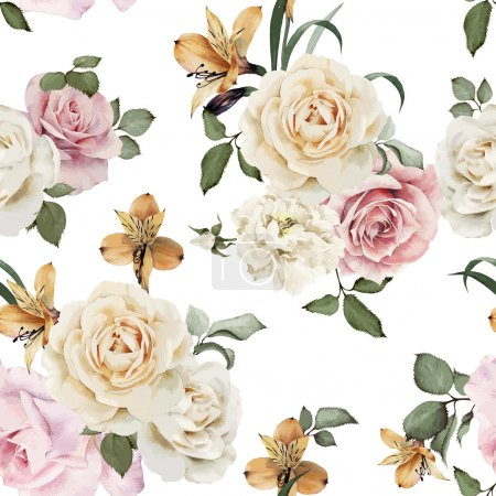 Illustration for Seamless floral pattern with roses, watercolor. Vector illustration - Royalty Free Image