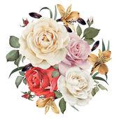"""Постер, картина, фотообои """"Поздравительная открытка с розами, акварель, могут быть использованы в качестве приглашения"""""""