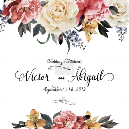 Illustration for Greeting card with roses, watercolor, can be used as invitation card for wedding, birthday and other holiday and  summer background. Vector illustration - Royalty Free Image