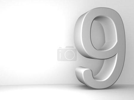 Photo pour Grand relief gris numéro neuf isolé sur fond blanc  . - image libre de droit