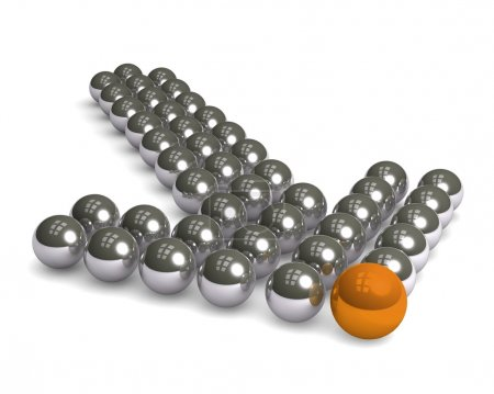 Arrow made of silver balls