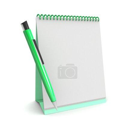 3d Blank calendar and pen