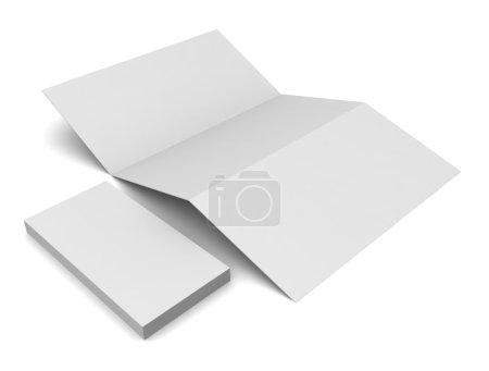 Foto de En blanco tri fold folleto y tarjetas aislado en blanco - Imagen libre de derechos