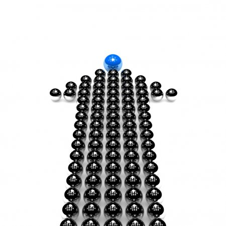 Photo for Shiny arrow made of silver balls with one different, Leader Concept - Royalty Free Image