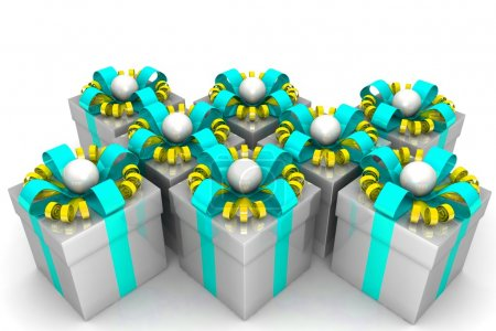 Multicolored gift boxes with colorful ribbons