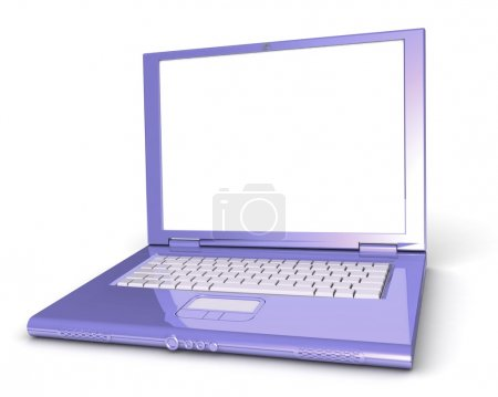 Photo pour 3d laptop. notebook with a blank screen isolated on white background - image libre de droit