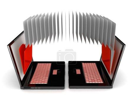 Photo pour Ordinateur portable 3D. carnets et dossiers contenant des documents isolés sur fond blanc. Échange d'informations . - image libre de droit