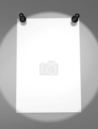 Photo pour Feuille de papier vierge avec vignette sur le mur pour votre texte et publicité - image libre de droit
