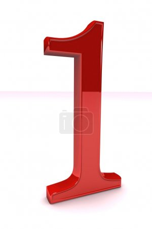 Photo for Shiny red number one, isolated on white background - Royalty Free Image