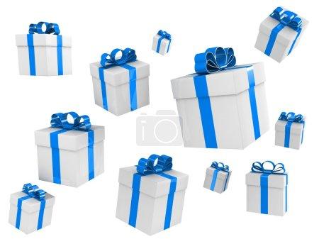 Photo pour Belles boîtes cadeaux dans différents angles isolés sur blanc - image libre de droit