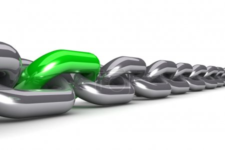 Single colored chain link isolated