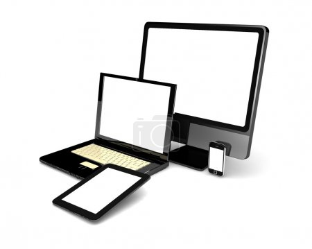 Photo for 3d green laptop, tablet computer, monitor and mobile phone template. isolated on white background - Royalty Free Image