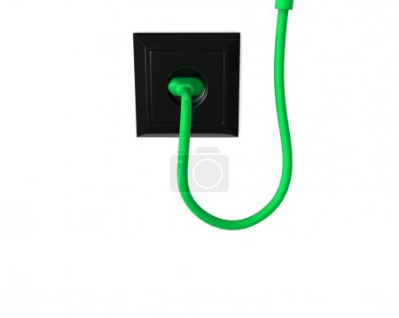 electric plug and a cable of green color