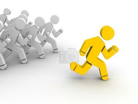 Running leader on white