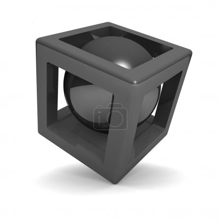 3d cube with sphere inside