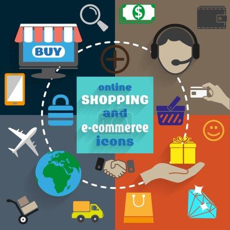 Photo pour Concept de design plat d'e-commerce, le magasinage en ligne, ainsi que la livraison et le consulter en ligne, service de soutien - image libre de droit