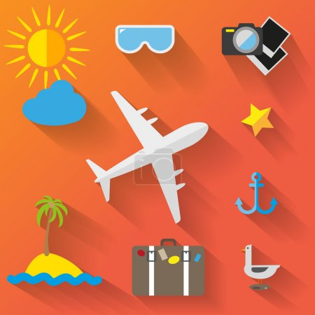 Photo for Travelers summer icons set on orange background, vector illustration - Royalty Free Image