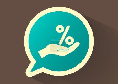 Illustration pour Pourcentage sur l'icône web main. Illustration vectorielle - image libre de droit