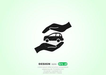 Foto de Auto en el icono de las manos. ilustración vectorial - Imagen libre de derechos