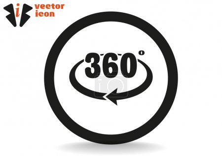 Illustration for 360 degree grey icon in black circle isolated on white background, vector illustration - Royalty Free Image