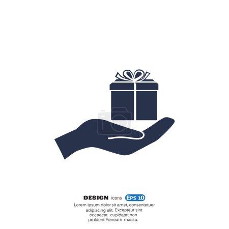 Gift box on hand web icon