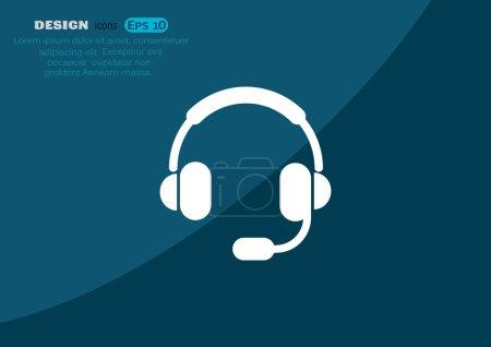 Earphones garniture web icon, outline vector illustration