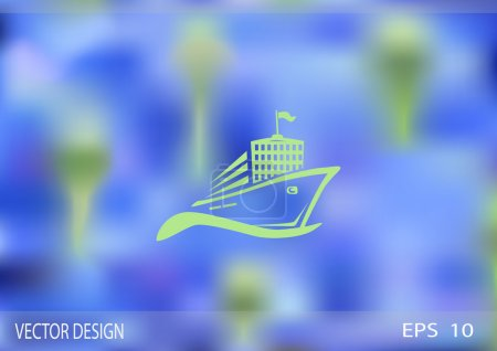 Illustration for Ship, web icon. Vector design - Royalty Free Image