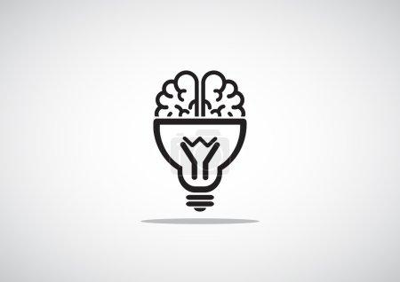 Brain with light bulb icon