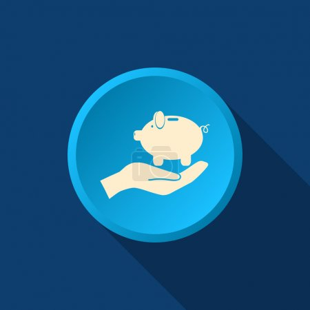 Piggy bank on human hand icon