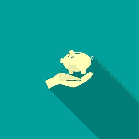 Piggy bank on human hand icon