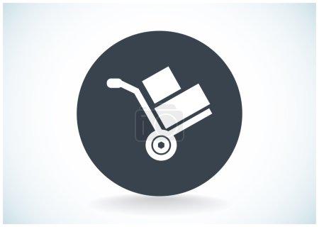 Illustration for Wheelbarrow for transportation of cargo, web icon. Vector design - Royalty Free Image