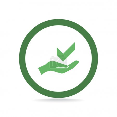 Illustration for Tick symbol on hand web icon, outline vector illustration - Royalty Free Image