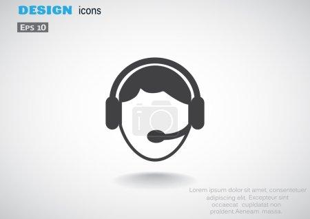 Ilustración de Icono del simple web del operador de callcenter, ilustración vectorial de contorno - Imagen libre de derechos
