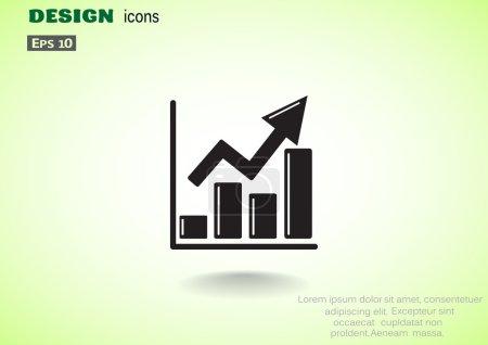 Illustration pour Montante icône de graphique web simple, contour vector illustration - image libre de droit