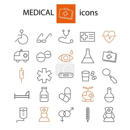 Set of pharmaceutics and medical icons