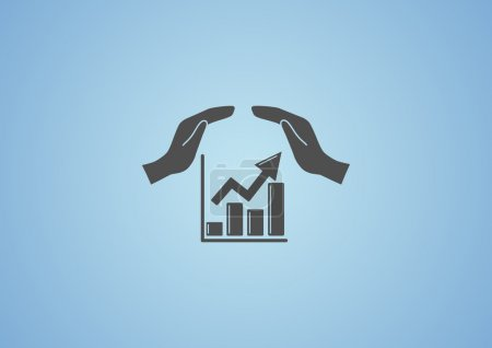 Illustration for Rising graph with hands icon, profit protection concept - Royalty Free Image
