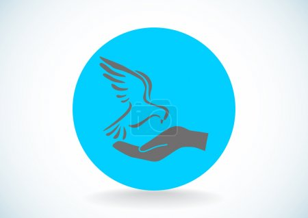 Pigeon with hand simple icon