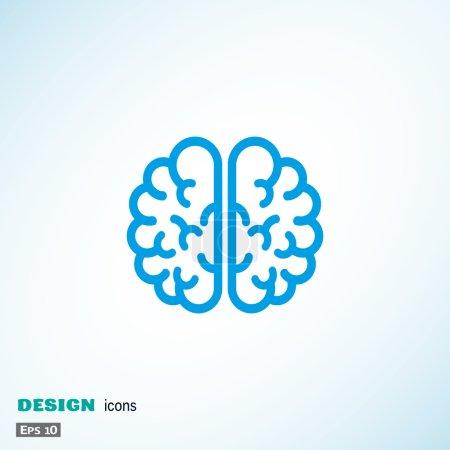 Illustration pour Icône web cerveau humain, illustration vectorielle de contour - image libre de droit