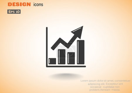 Illustration for Rising graph simple web icon, outline vector illustration - Royalty Free Image