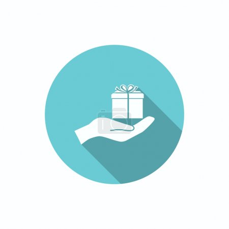 Illustration for Gift box on hand web icon, outline vector illustration - Royalty Free Image
